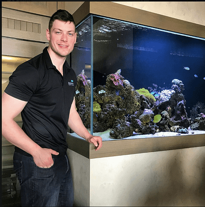 Benjamin In Front Of In-Wall Custom Fish Tank