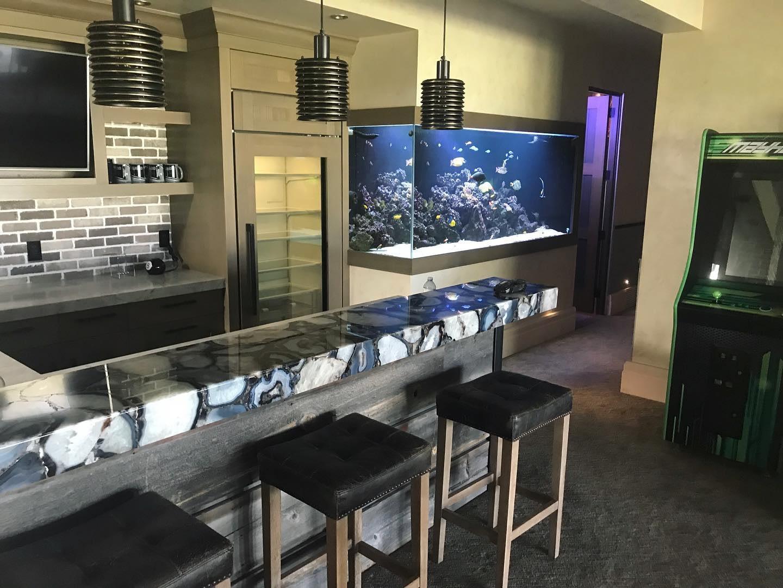 Custom Built Aquarium Installed into wall.