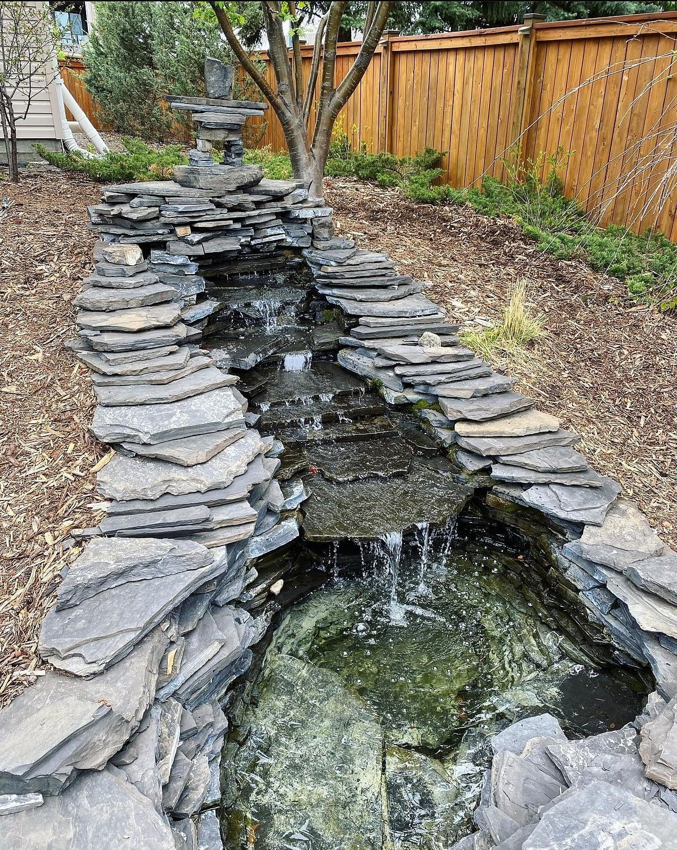 A Beautiful Garden Pond Waterfall
