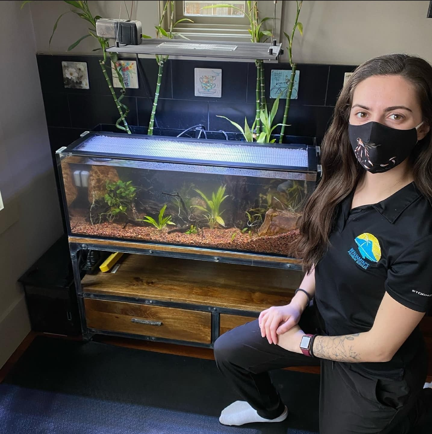 Berklee Finishing Up Cleaning a Fish Tank